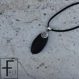 Pendente ovale in pietra lavica