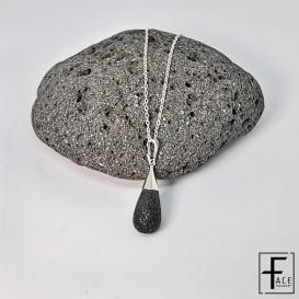 Pendente goccia in argento 925 e pietra lavica