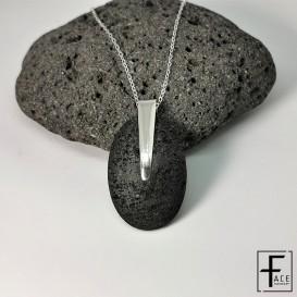 Pendente ovale in pietra lavica e argento 925