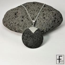 LCN19: Pendente tondo in argento 925 e pietra lavica