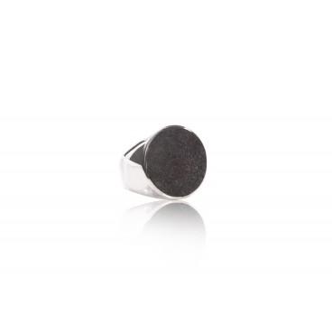 Anello 4 sfere in pietra lavica e argento 925