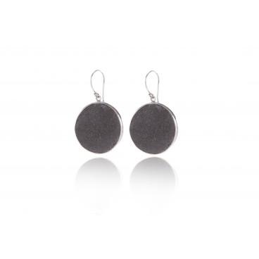 LOR27: Orecchino toppa goccia in pietra lavica e argento 925