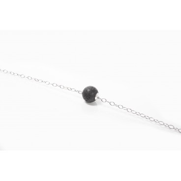Bracciale in pietra lavica e argento 925 - LBR8